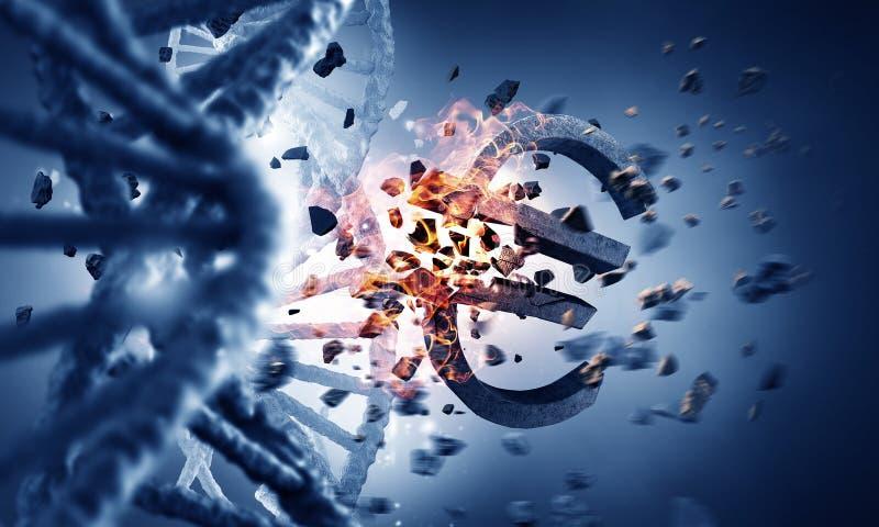Molécula de la DNA y muestra del euro fotografía de archivo libre de regalías