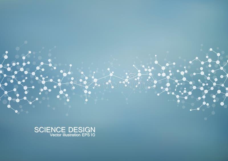 Molécula de la estructura de la DNA y de las neuronas Átomo estructural compuestos químicos Medicina, ciencia, concepto de la tec libre illustration