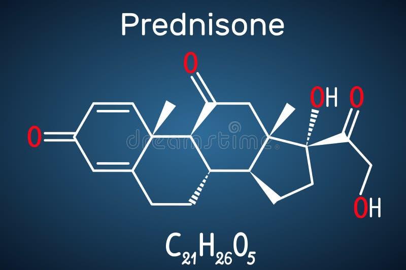 Molécula de la prednisona Un glucocorticoide antiinflamatorio sintético derivado de la cortisona F?rmula qu?mica estructural en l ilustración del vector