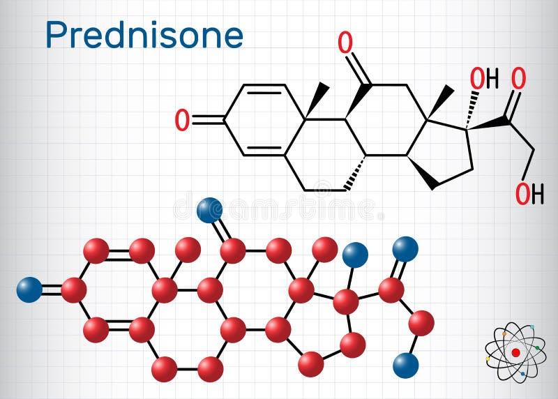 Molécula de la prednisona Un glucocorticoide antiinflamatorio sintético derivado de la cortisona F?rmula qu?mica estructural y mo libre illustration