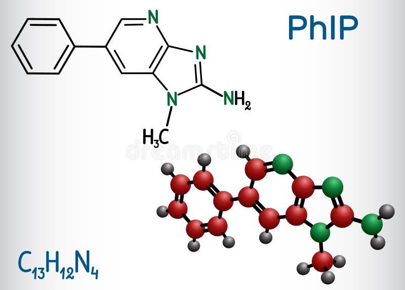 Molécula de PhIP 2 amino-1-methyl-6-phenylimidazo4,5-bpyridine Es una de las aminas heterocíclicas HCAs en carne cocinada libre illustration