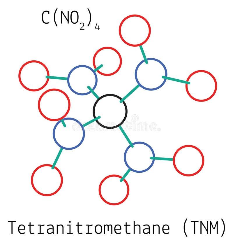 Molécula de Tetranitromethane CN4O8 stock de ilustración