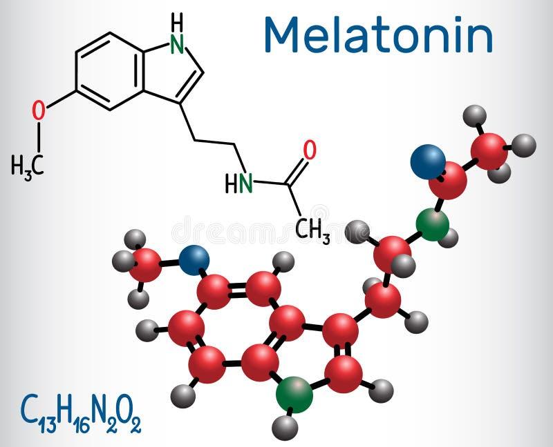 Molécula del Melatonin, hormona que regula sueño y vela imagen de archivo