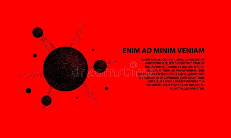Molécula del negro del tono medio 3d con un núcleo y átomos en un fondo rojo Ciencia de Dotwork y plantilla de la bandera de la t ilustración del vector