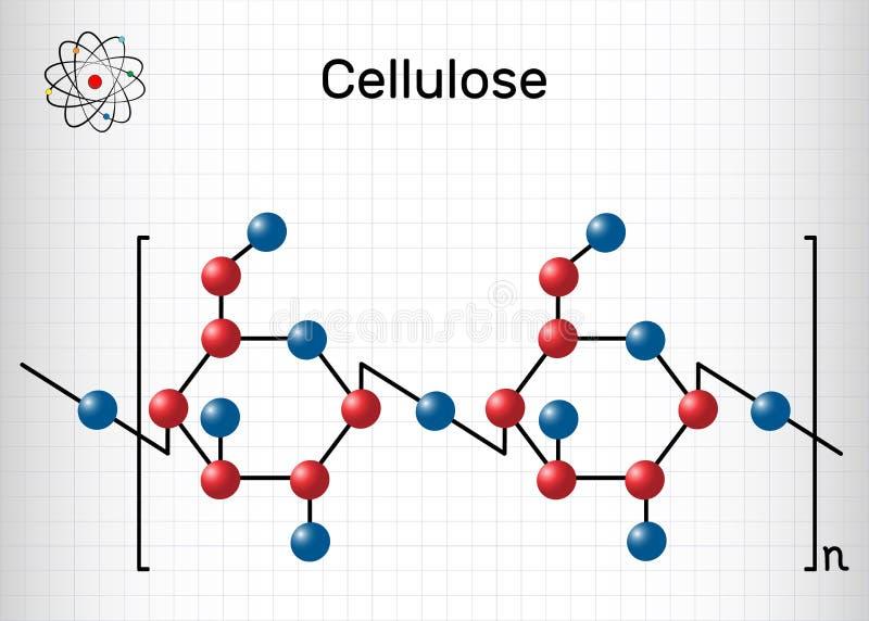 Molécula del polisacárido de la celulosa Hoja de papel en una jaula f?rmula qu?mica estructural libre illustration