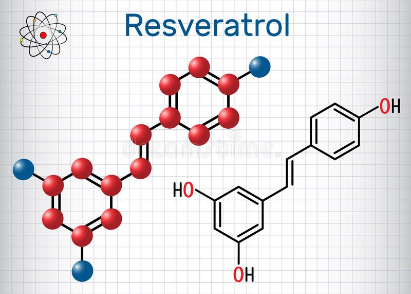 Molécula del Resveratrol Es fenol natural, fitoalexina, antioxi foto de archivo