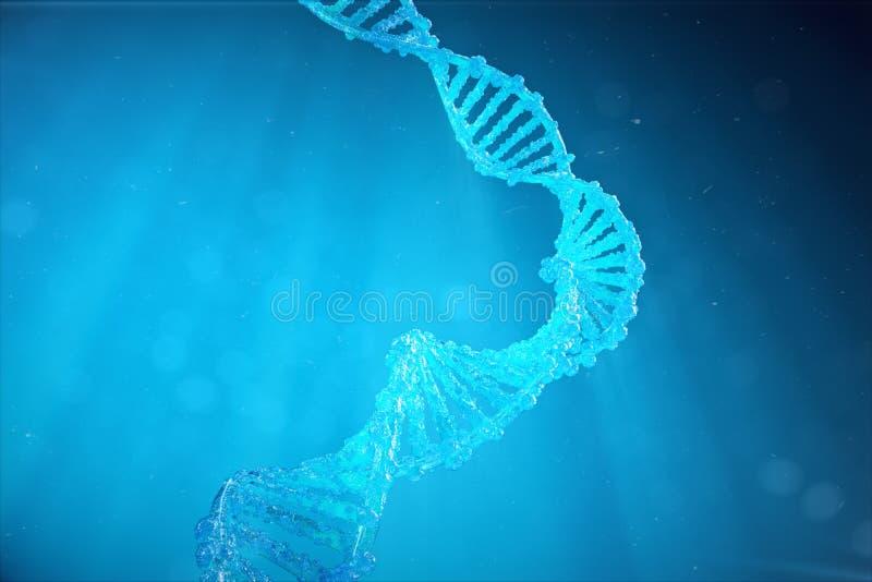 Molécula do ADN da hélice com genes alterados Corrigindo a mutação pela genética Genética molecular do conceito, 3d ilustração royalty free
