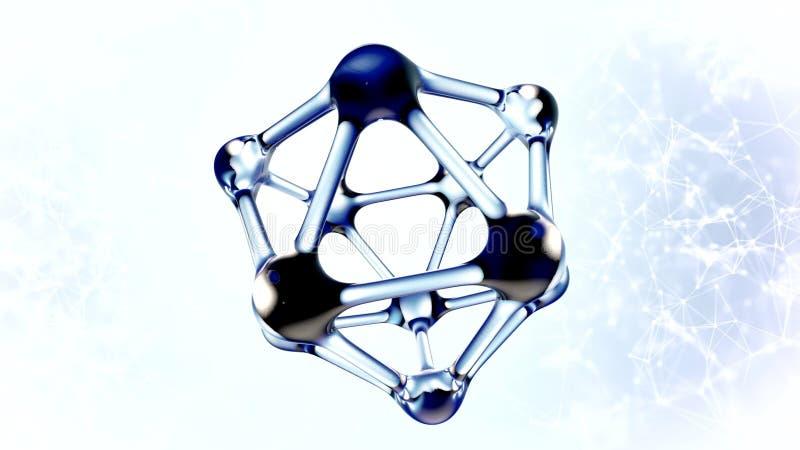 Molécula do ADN feita da ilustração da água 3d ilustração stock