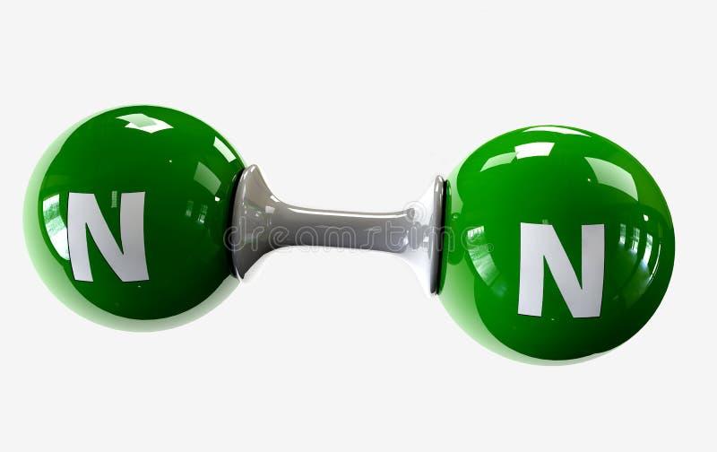 Molécula do ilustrador do nitrogênio em um fundo branco ilustração royalty free