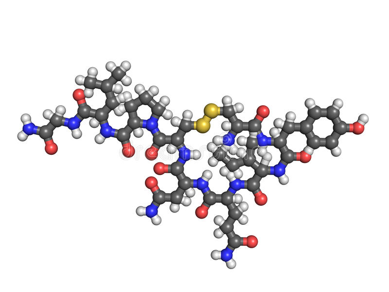 Molécula do Oxytocin no branco ilustração royalty free