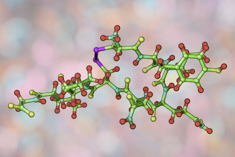 Molécula do oxytocin, uma hormona liberada do neurohypophysis ilustração do vetor