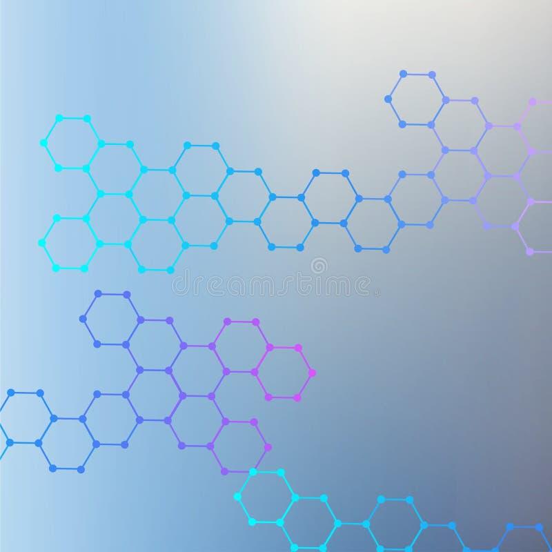 Molécula e comunicação da estrutura ADN, átomo, neurônios Conceito científico para seu projeto Linhas conectadas com pontos ilustração do vetor