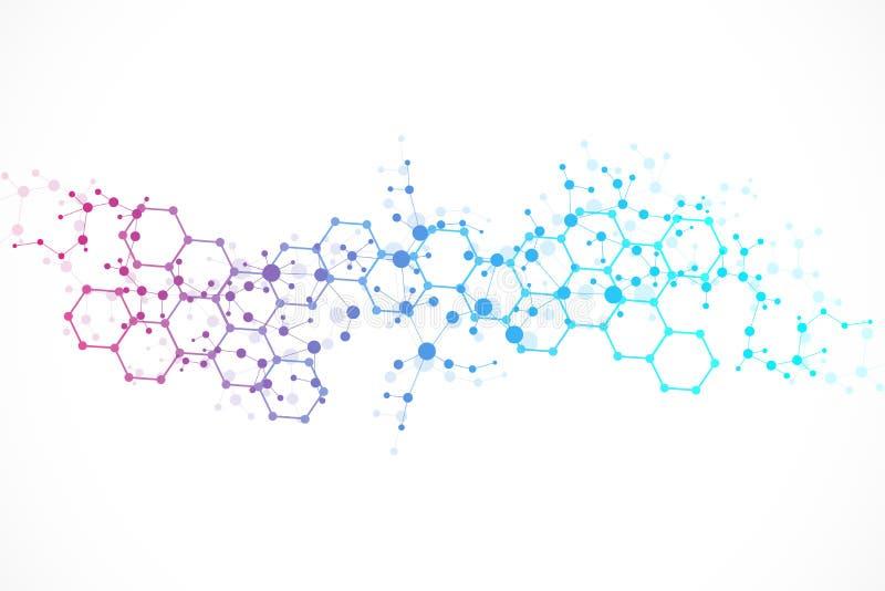 Molécula e comunicação da estrutura ADN, átomo, neurônios Conceito científico para seu projeto Linhas conectadas com pontos ilustração royalty free