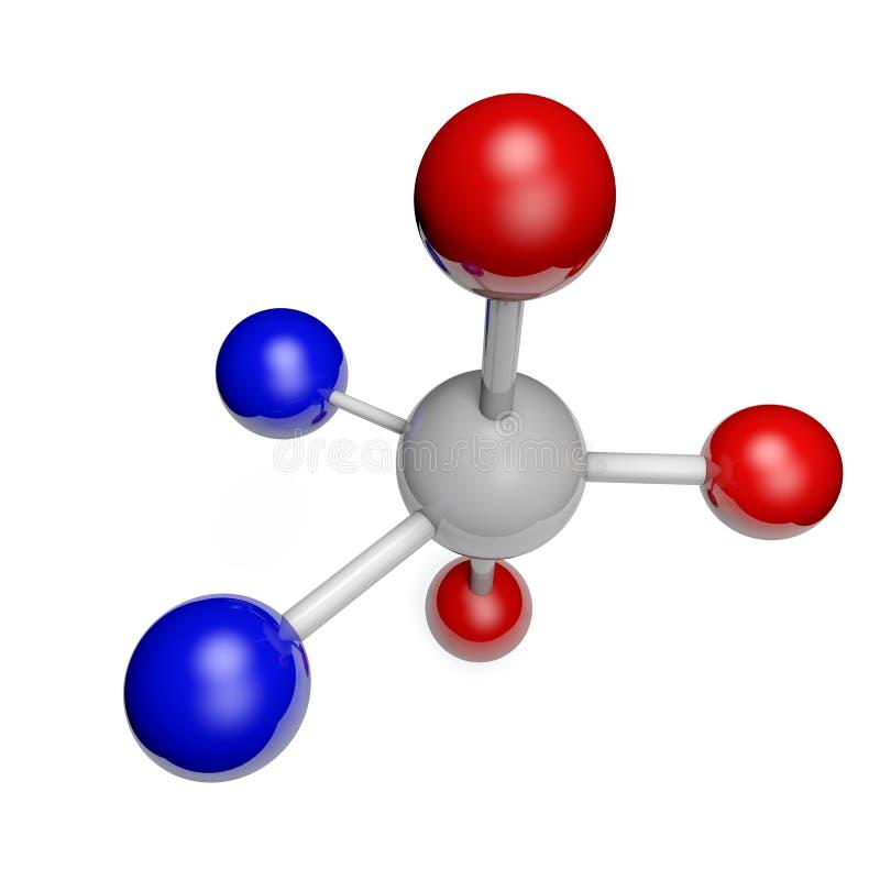 Molécula em um fundo branco objeto isolado 3D ilustração royalty free