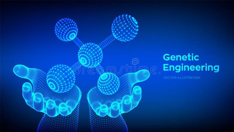 Molécula en manos DNA, ?tomo, neuronas Mol?culas y f?rmulas qu?micas fondo cient?fico de la mol?cula 3D para la medicina ilustración del vector