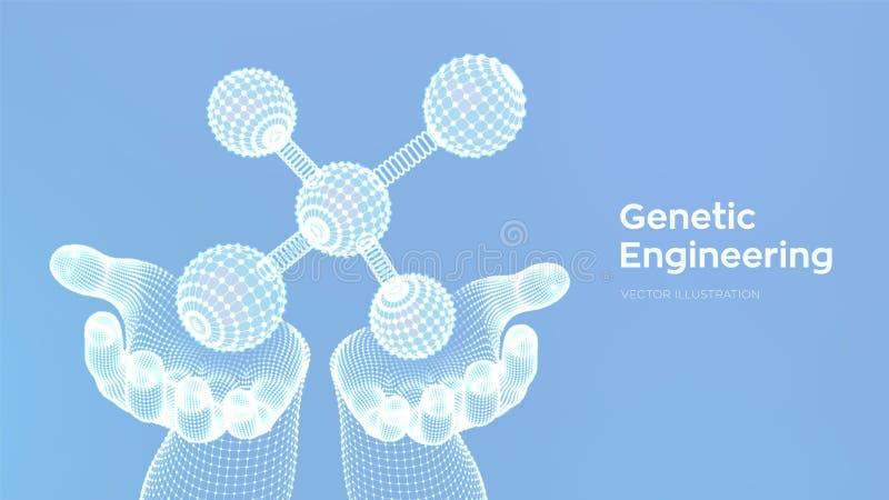 Molécula en manos DNA, ?tomo, neuronas Mol?culas y f?rmulas qu?micas fondo cient?fico de la mol?cula 3D para la medicina, ciencia libre illustration