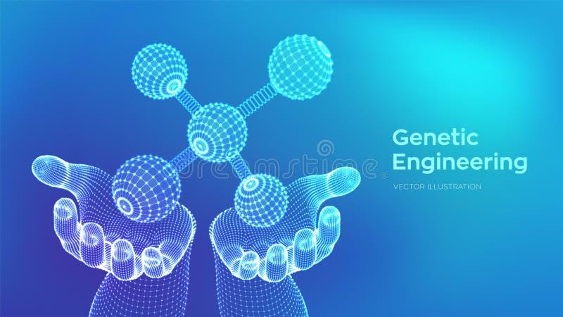 Molécula en manos DNA, ?tomo, neuronas Mol?culas y f?rmulas qu?micas fondo cient?fico de la mol?cula 3D para la medicina, ciencia ilustración del vector
