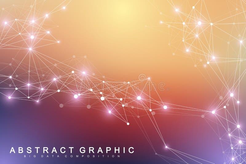 Molécula gráfica geométrica e comunicação do fundo Complexo grande dos dados com compostos Contexto da perspectiva mínimo ilustração stock