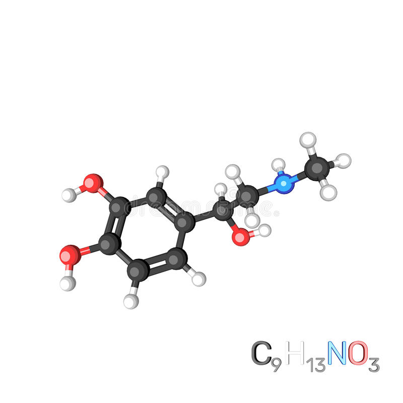Molécula modelo da adrenalina Isolado no fundo branco cartoon ilustração stock