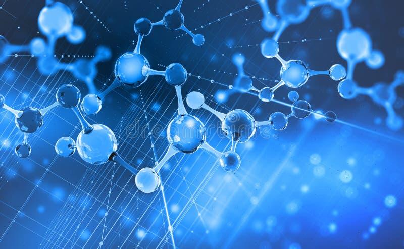 molécula Olá! tecnologia da tecnologia no campo da genética Descoberta científica na síntese molecular ilustração royalty free