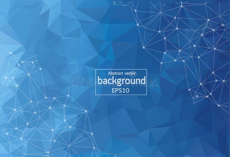 Molécula poligonal geométrica azul marino abstracta y comunicación del fondo Líneas conectadas con los puntos Concepto de la cien libre illustration