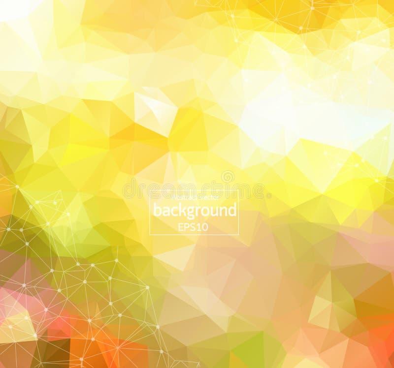 Molécula poligonal geométrica y comunicación del fondo de la luz verde Líneas conectadas con los puntos Fondo del minimalismo Con ilustración del vector