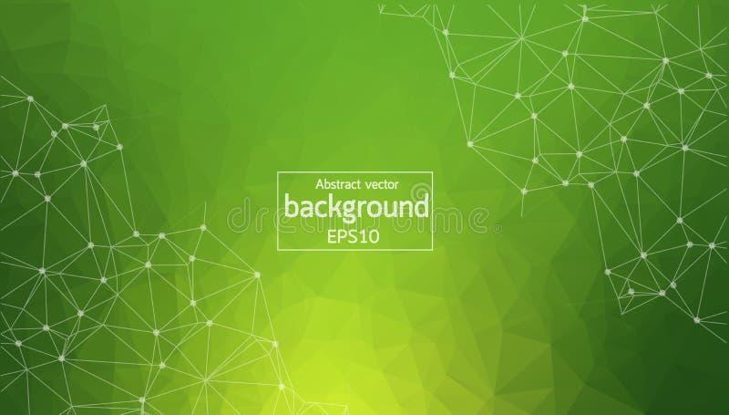 Molécula poligonal verde geométrica e comunicação do fundo Linhas conectadas com pontos Fundo do minimalismo Conceito do ilustração stock