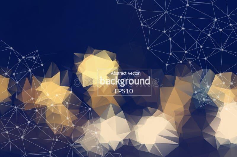 Molécula poligonal y comunicación del fondo del vintage geométrico Líneas conectadas con los puntos Fondo del minimalismo Concept ilustración del vector