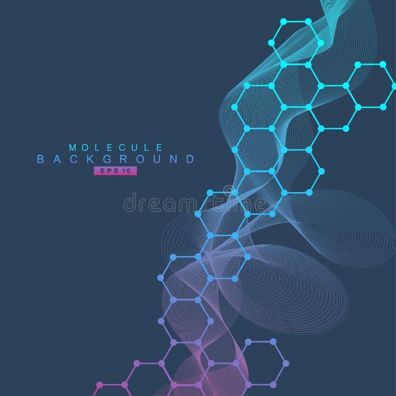 Molécula y comunicación de la estructura DNA, átomo, neuronas Concepto científico para su diseño Líneas conectadas con los puntos libre illustration
