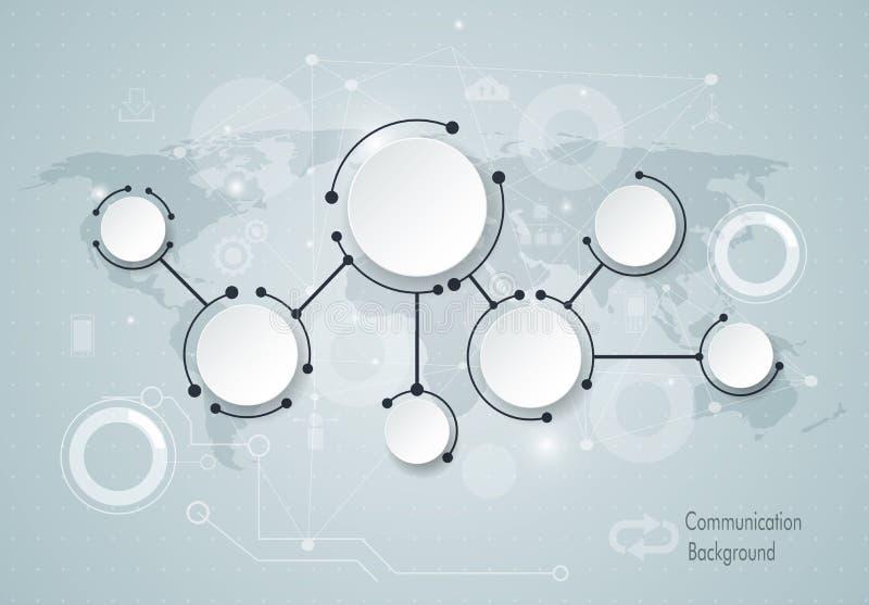 Moléculas abstratas e conceito social global da tecnologia de comunicação dos meios com etiqueta do papel 3D ilustração stock