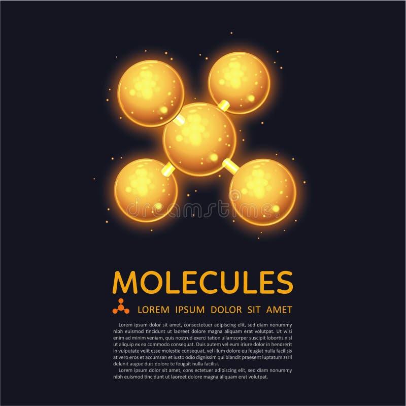 Moléculas abstratas projeto, partículas do fulgor do ouro ilustração stock