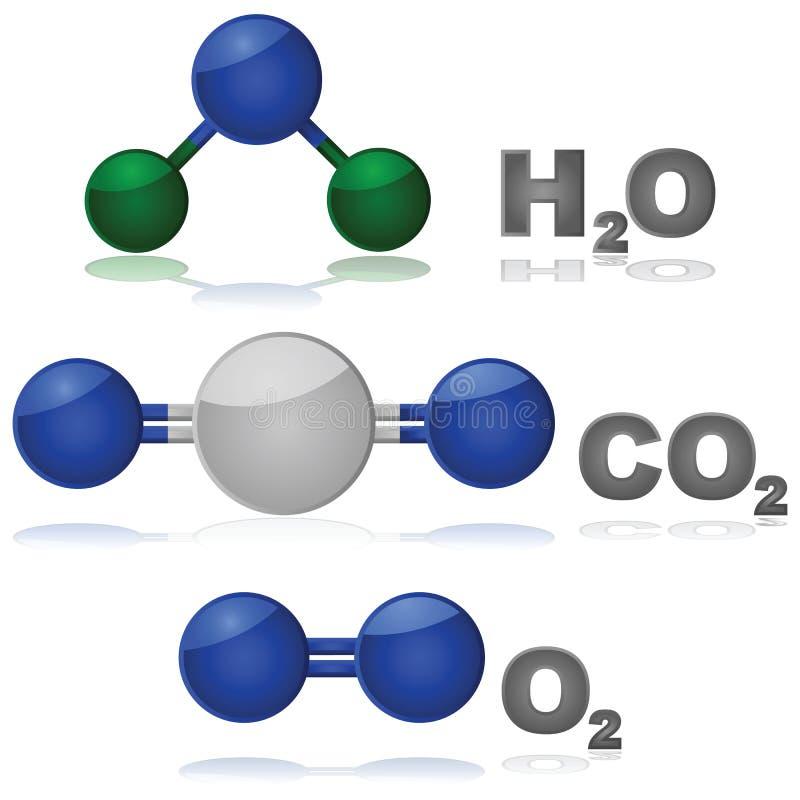 Moléculas comuns ilustração do vetor