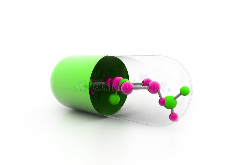 Moléculas dentro de la cápsula ilustración del vector
