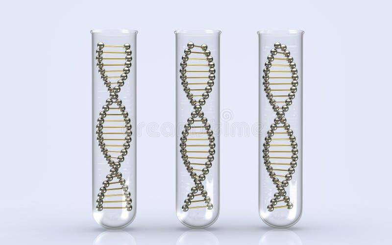 Moléculas do ADN em uns tubos de ensaio na mesa reflexiva no laboratório ilustração do vetor