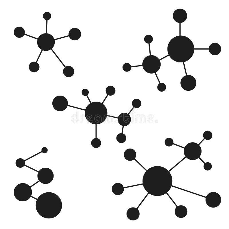 Moléculas do logotipo do ícone, matéria da estrutura atômica, projeto do vetor um logotipo para o laboratório, a estrutura da mol ilustração royalty free