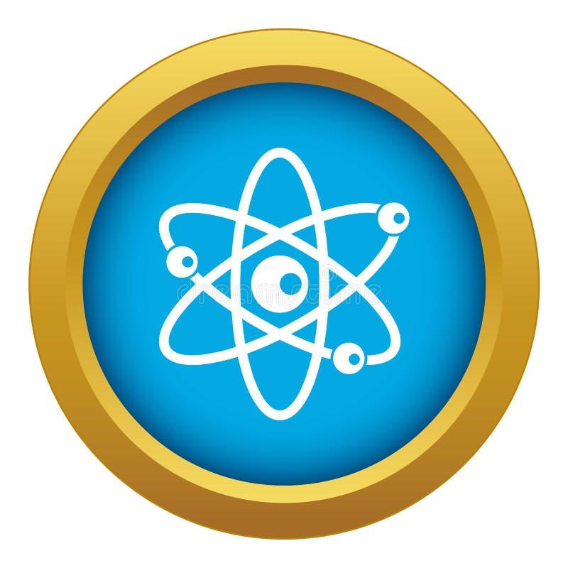 Moléculas do vetor azul do ícone do átomo isoladas ilustração royalty free