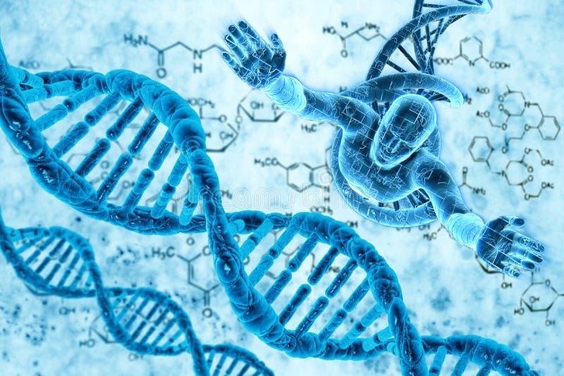 Moléculas e homens do ADN ilustração royalty free