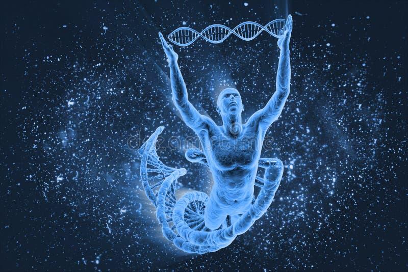 Moléculas e homens do ADN foto de stock