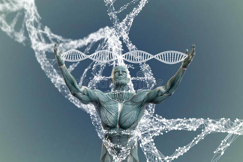 Moléculas e homens do ADN na ilustração 3D imagem de stock royalty free