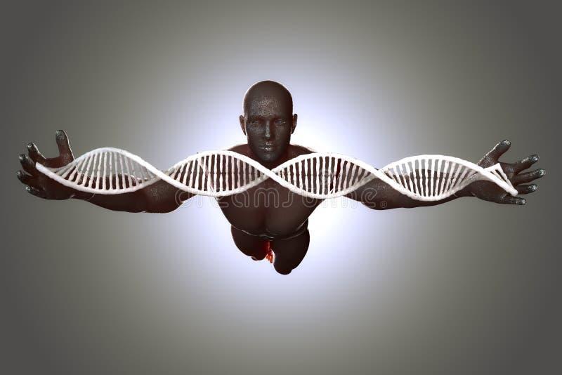 Moléculas e homens do ADN na ilustração 3D fotografia de stock