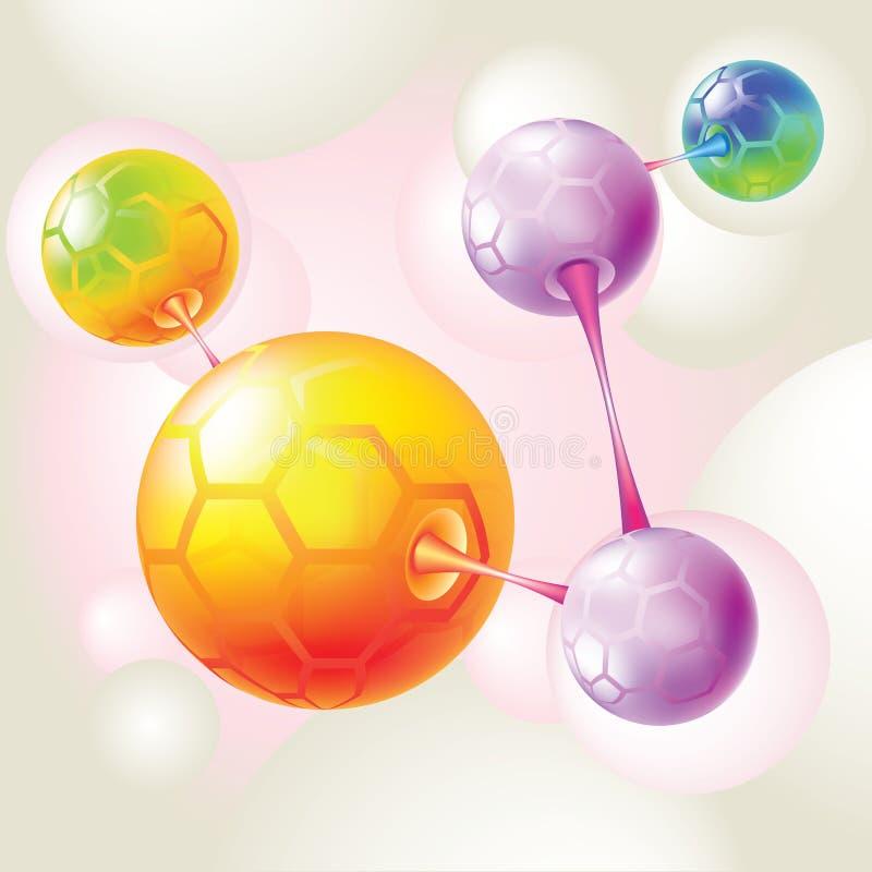 Moléculas y átomos coloreados stock de ilustración