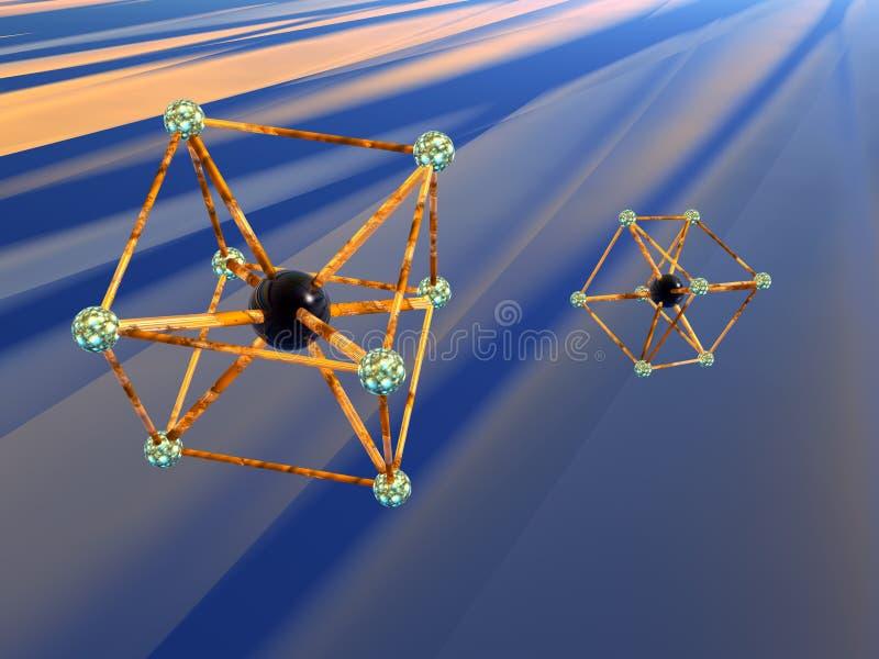 Molécule, atome. illustration stock