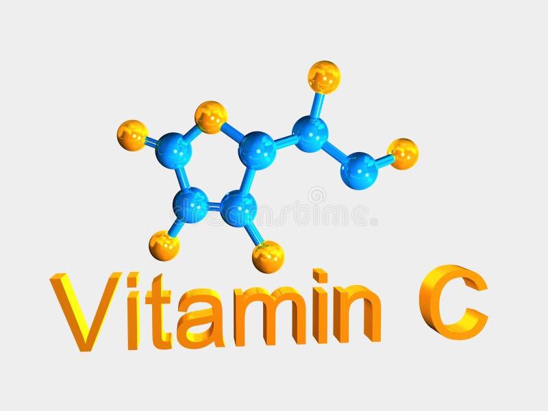 Molécule bleue de vitamine C et texte orange sur le petit morceau illustration libre de droits