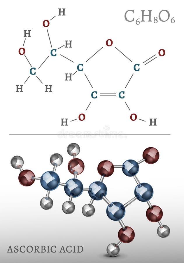 Molécule d'acide ascorbique illustration stock