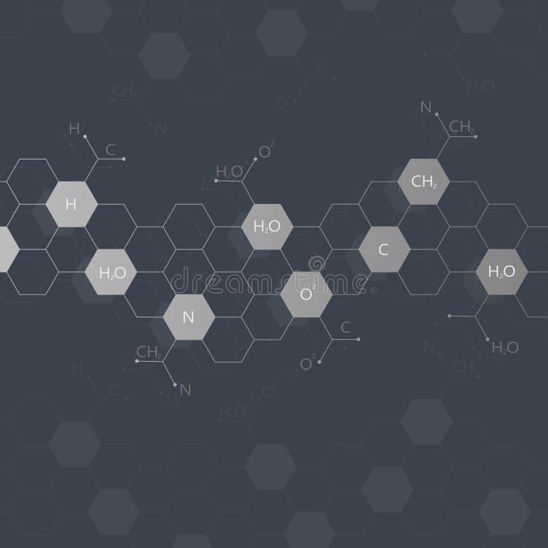 Molécule d'ADN sur le fond noir dessin illustration libre de droits