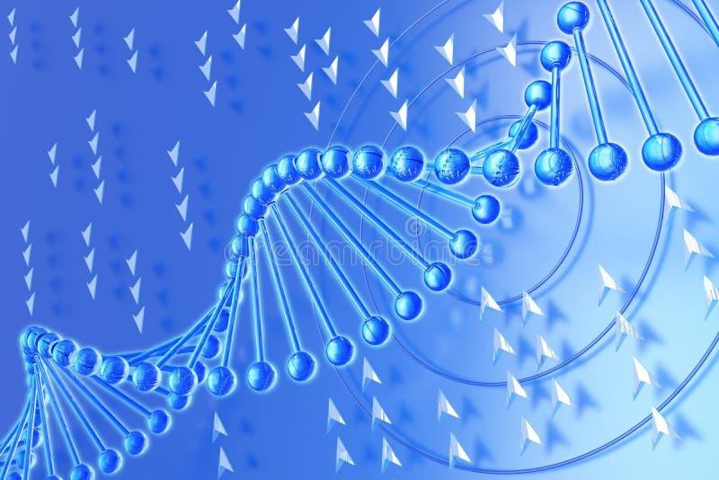 Molécule d'ADN sur un fond bleu illustration stock
