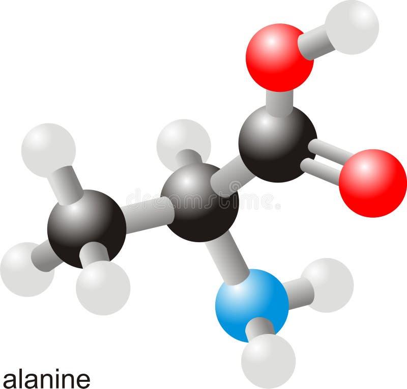 Molécule d'alanine illustration stock