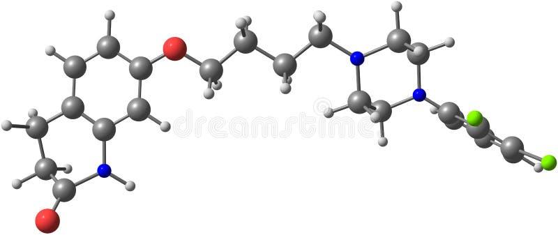 Molécule d'Aripiprazole d'isolement sur le blanc illustration libre de droits