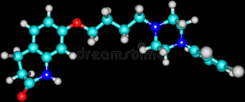 Molécule d'Aripiprazole d'isolement sur le noir illustration libre de droits