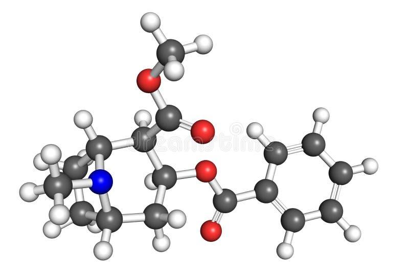 Molécule de cocaïne illustration stock